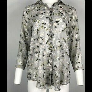 cabi 🦋 5204 Matinee Gray Floral Blouse
